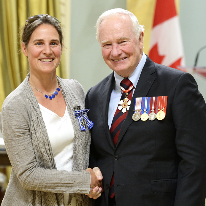 Professor Lisa Glithero with His Excellency the Right Honourable David Johnston, Governor General of Canada.