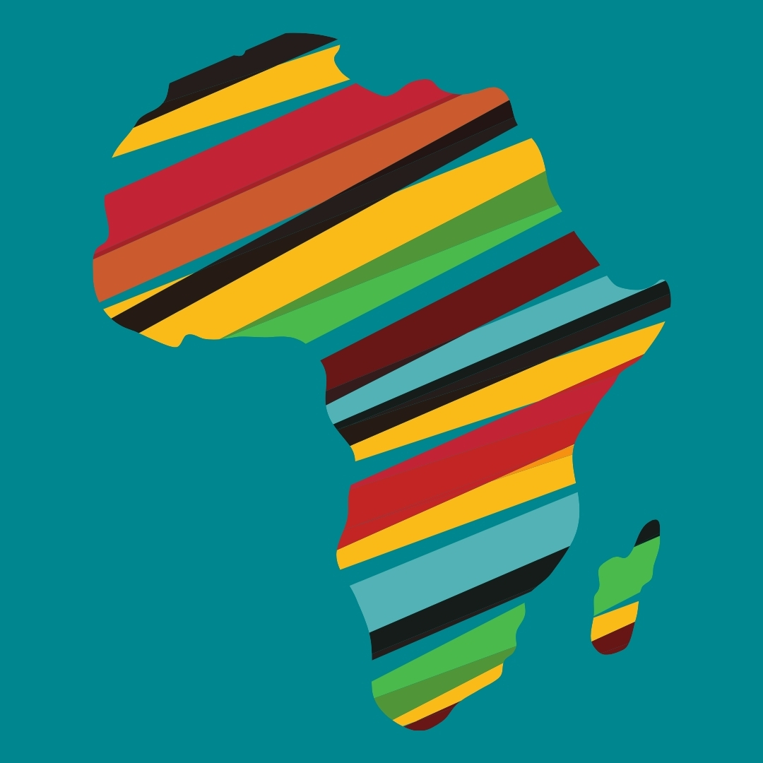 Continent africain, rayures multicolores, fond bleu