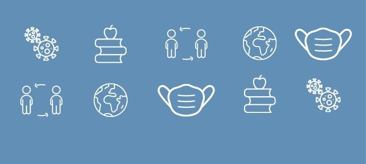 icons: masks, kids, virus, world, education