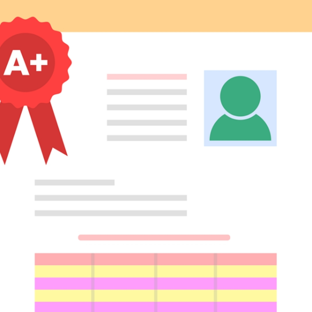 image of student copy with an A+ red ribbon