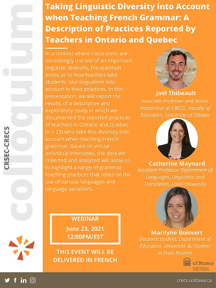 Centre for Research on Educational and Community Services, June 23, 2021, Orange background, profile photos