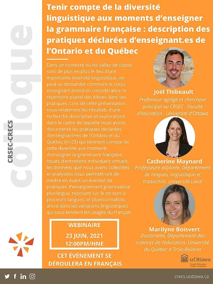 Centre de recherche sur les services éducatifs et communautaires, 23 juin 2021, fond orange, photos de profiles