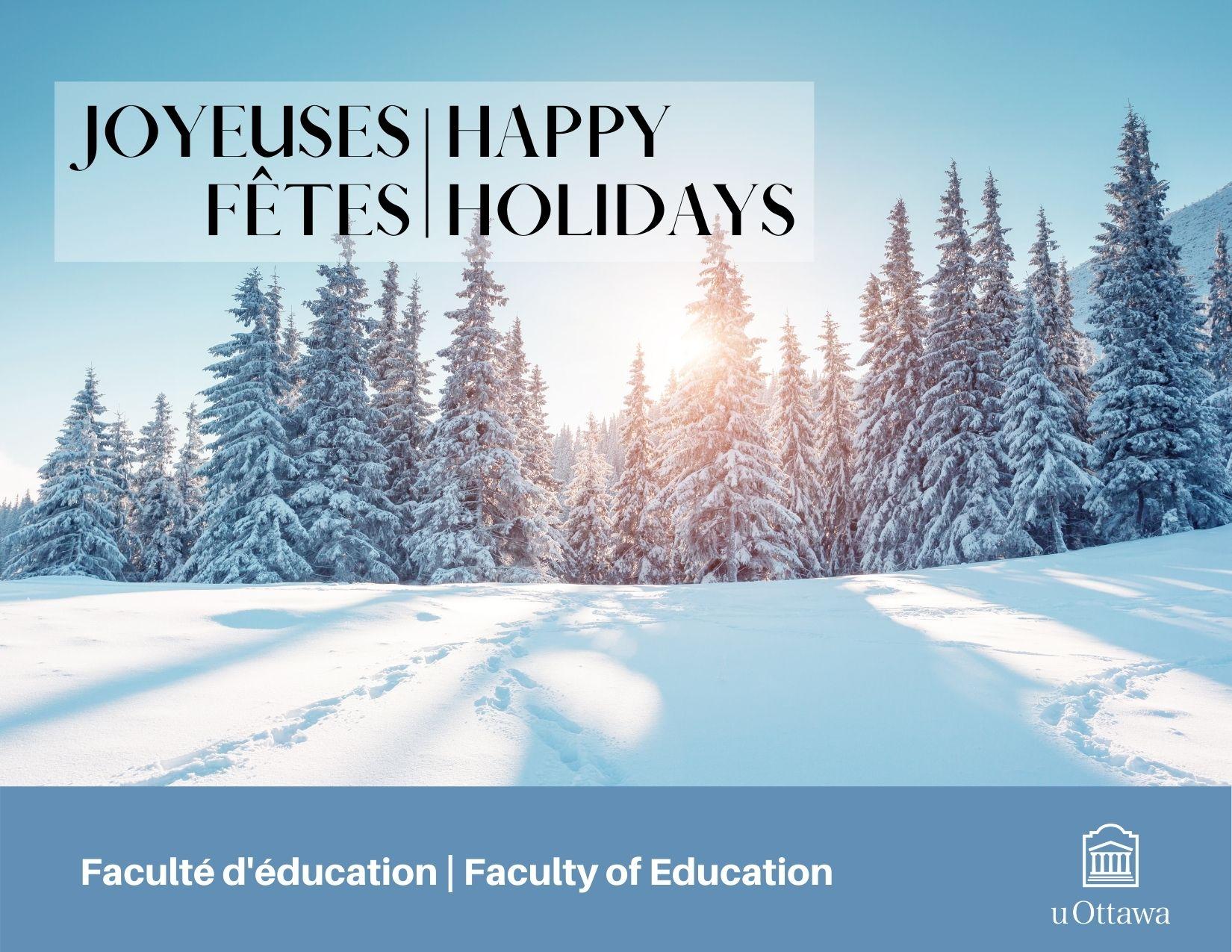 Joyeuses fêtes, arbres couverts de neige et soleil