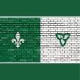 Franco Ontarian Flag, Green and White, brick background