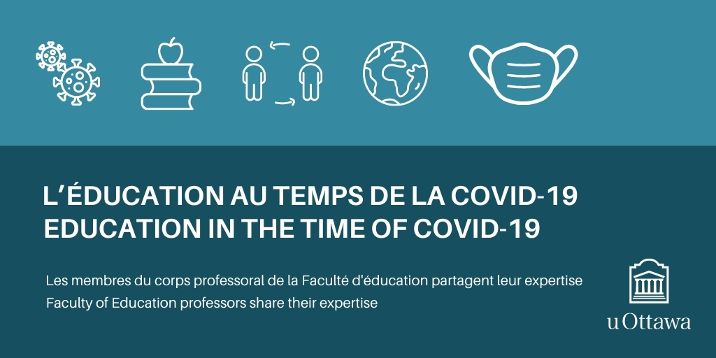 Education in the time of Covid 19, icons of virus, books, people, earth, mask