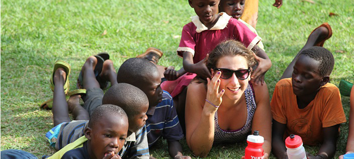 Hunter Kelly and students in Africa