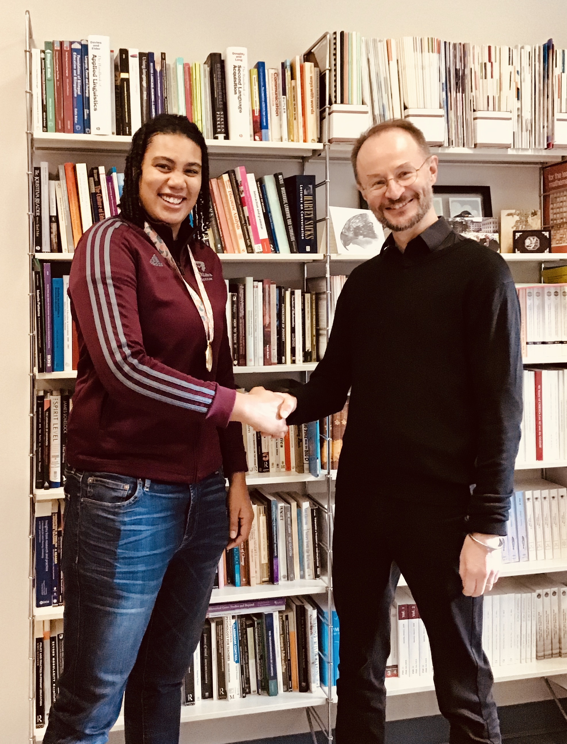 Gabrielle Emilien meeting with the Dean of the Faculty of Education, Richard Barwell