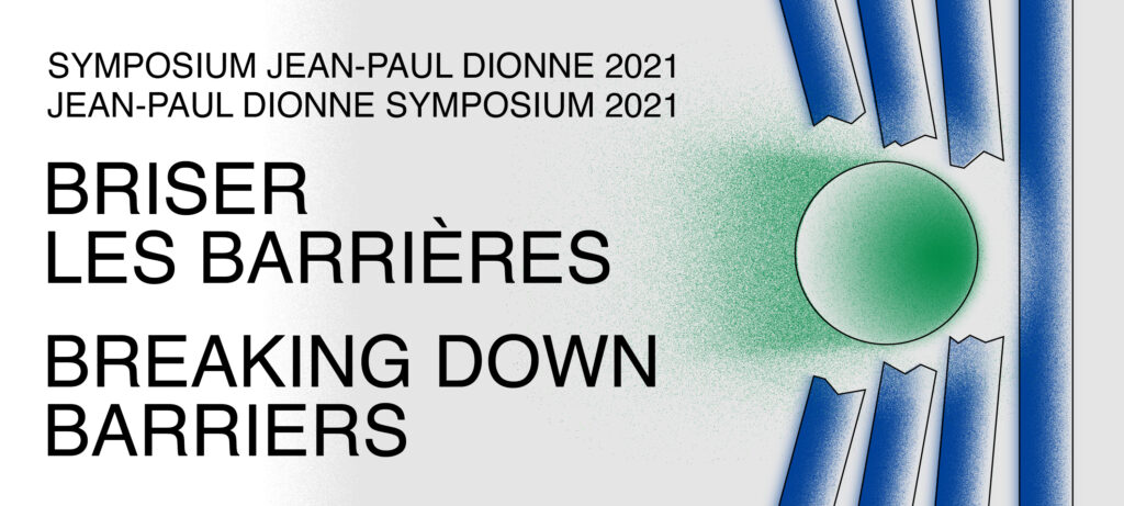 Jean-Paul Dionne Symposium. Green ball breaking barrier of blue columns