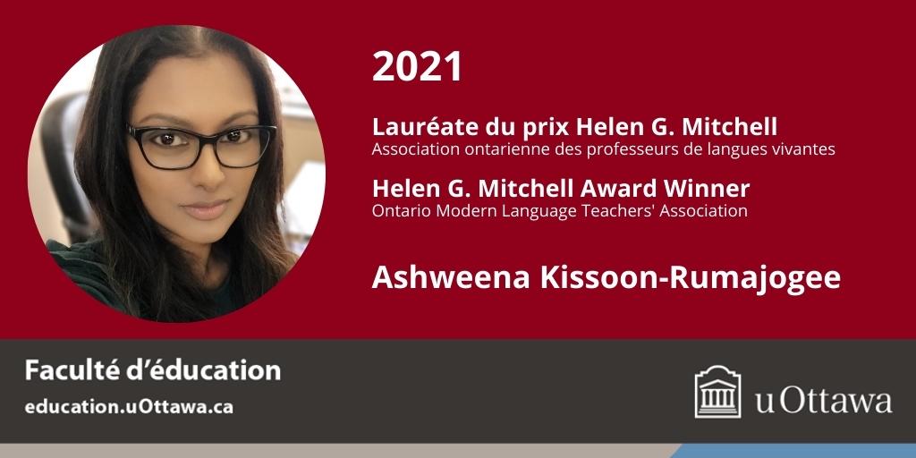 Ashweena Kissoon-Rumajogee, lauréate du prix Helen G. Mitchell, fond rouge, logo de l'Université d'Ottawa.