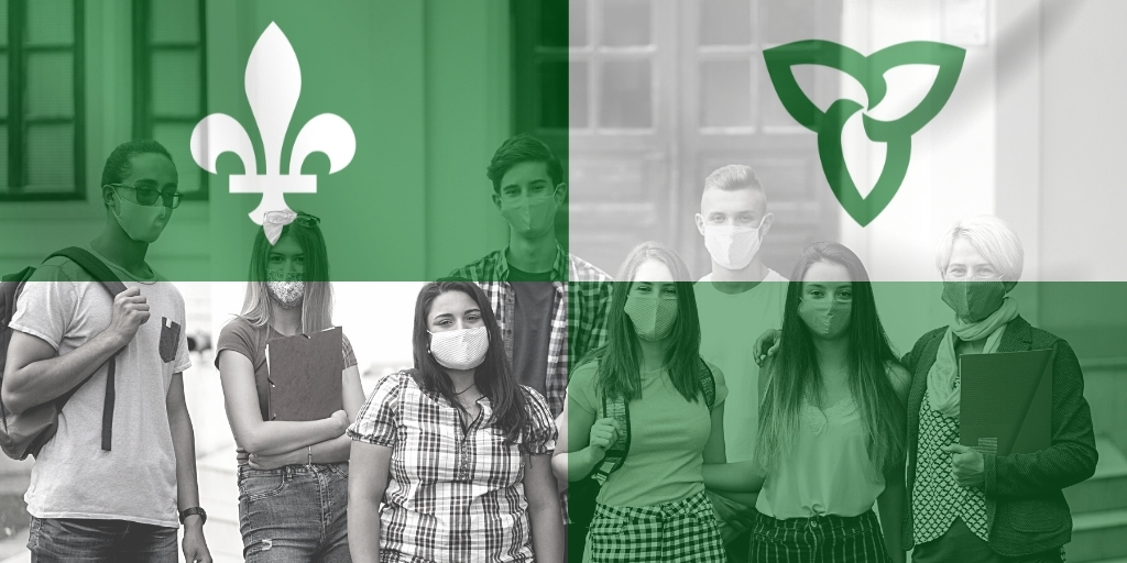 High school students and teacher, with Franco-Ontarian flag
