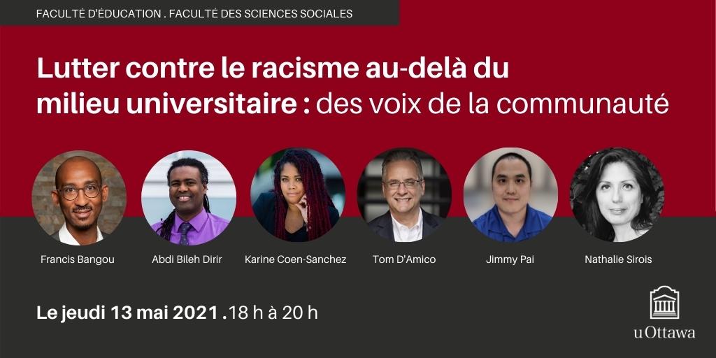 les voix de la communauté,, logo de l'Université d'Ottawa, images des panélistes.