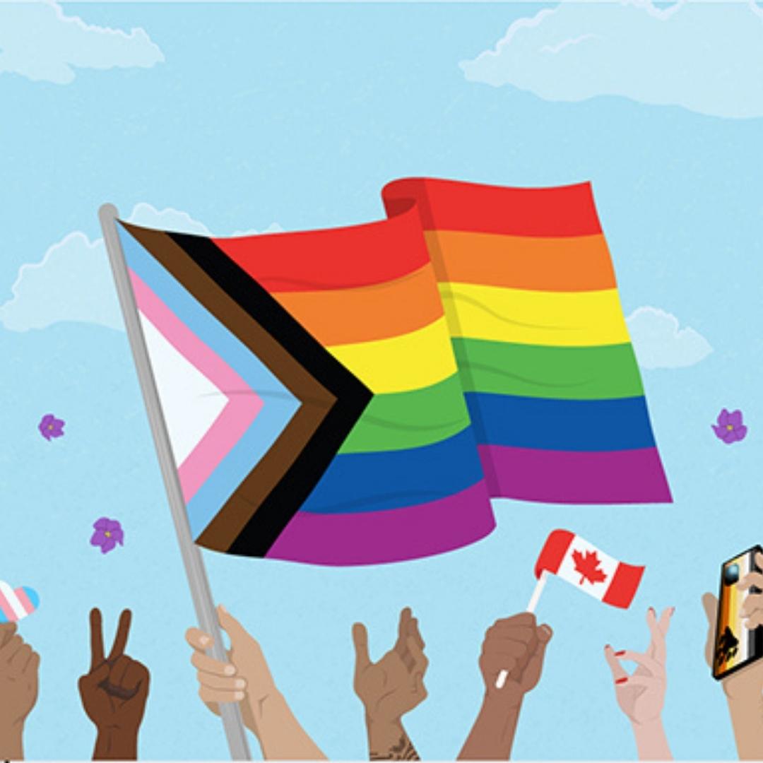 Illustration qui comporte plusieurs mains de différentes couleurs de peau, l'une tenant un grand drapeau inclusif en mouvement et deux mains tenant un plus petit drapeau du Canada et un cœur portant les couleurs du drapeau trans (bleu clair, rose clair et