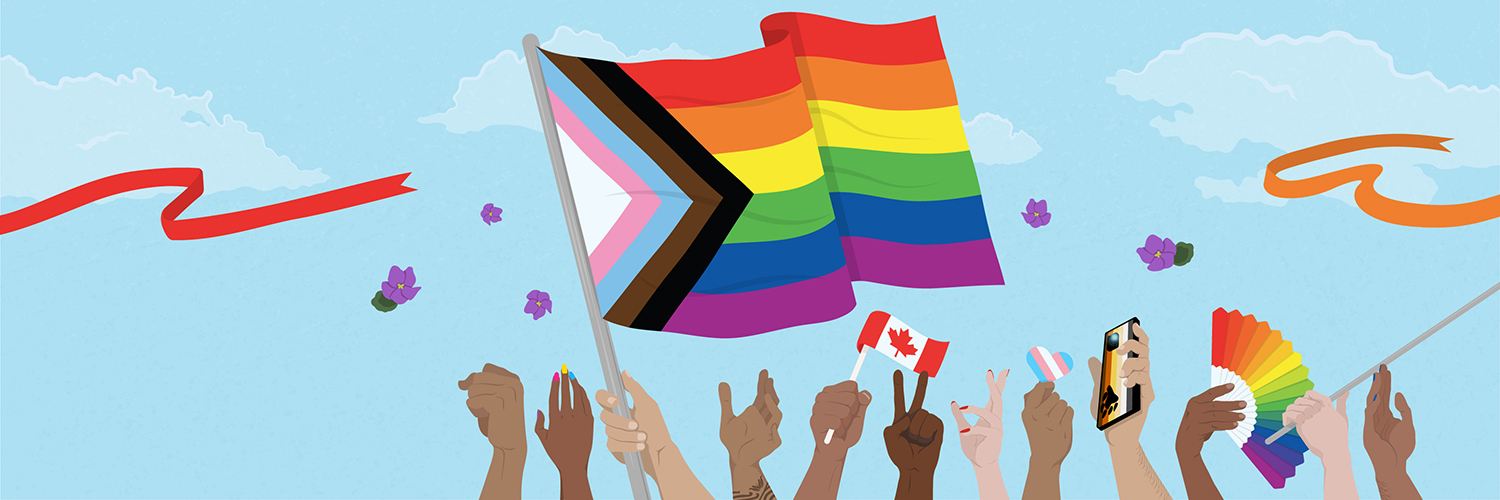 Hands holding the Pride flag