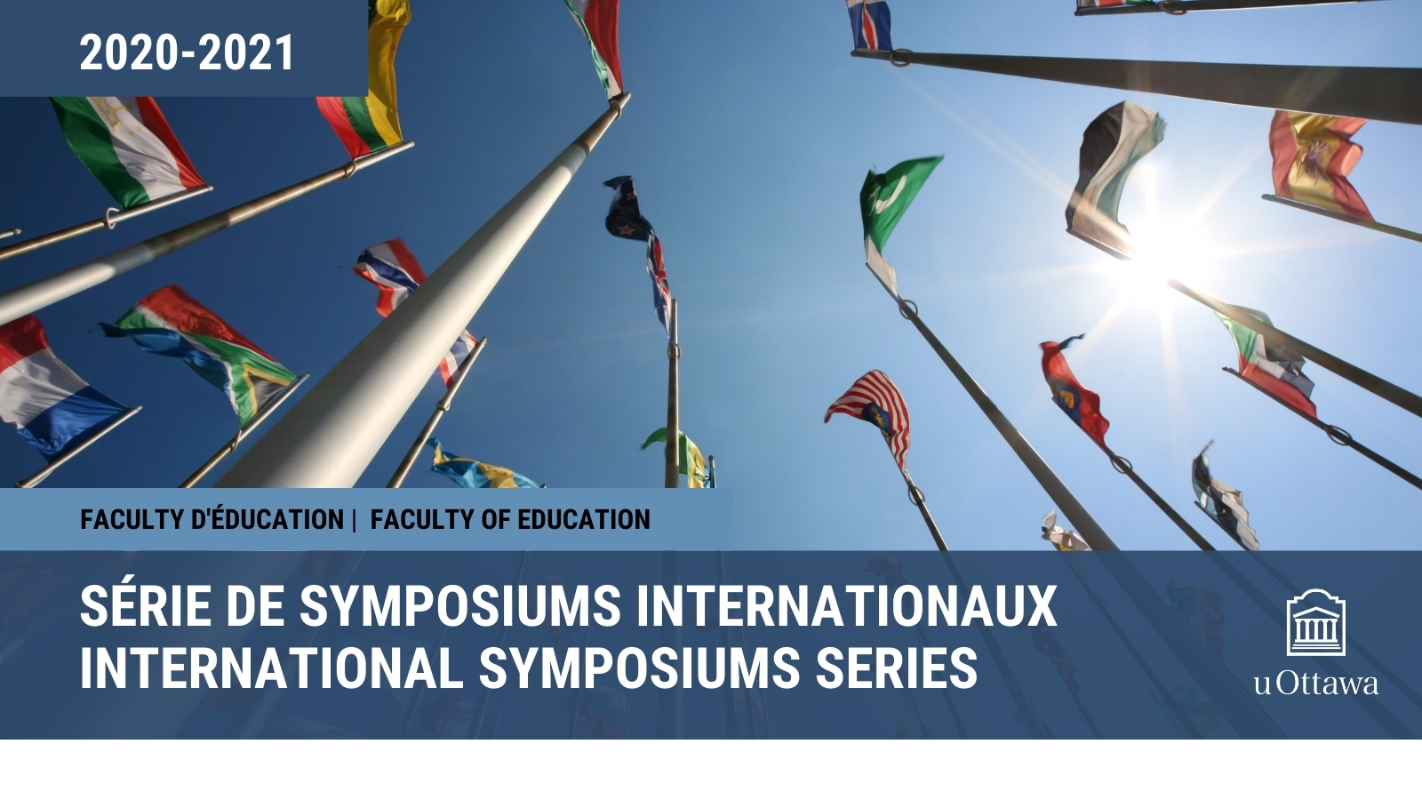 International Symposiums 2020-2021, Flags of the world against blue sky